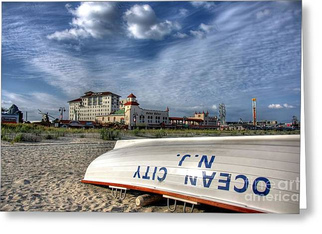 Boardwalk Greeting Cards - Ocean City Lifeboat Greeting Card by John Loreaux