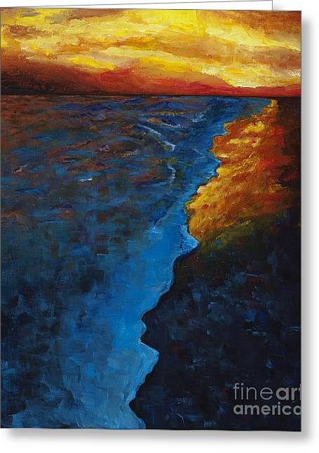 Sunset Abstract Greeting Cards - Ocean Sunset Greeting Card by Frances Marino