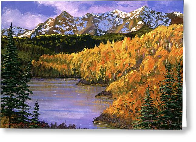 Lake Paintings Greeting Cards - October Colors Greeting Card by David Lloyd Glover