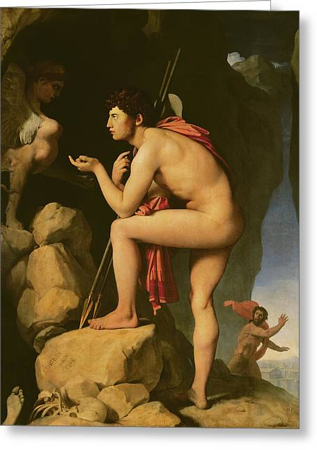 Greek Myth Greeting Cards - Oedipus and the Sphinx Greeting Card by Jean Auguste Dominique Ingres