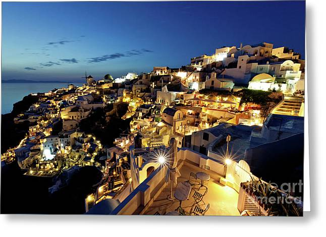 Oia Night View Greeting Card by Gualtiero Boffi