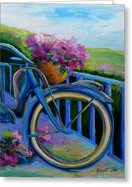 Janet Oh Greeting Cards - Old Bicycle on the Front Porch Greeting Card by Janet Oh