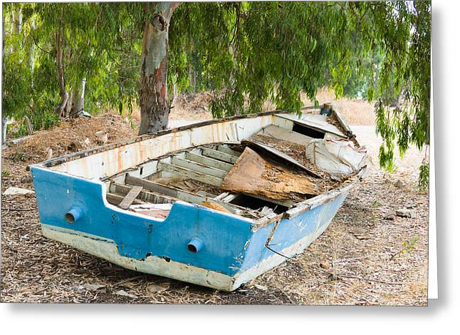 The Trees Greeting Cards - Old Boat. Greeting Card by Benny Blitzblau
