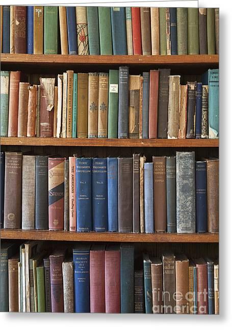 Old Books On A Bookshelf Greeting Card by Paul Edmondson