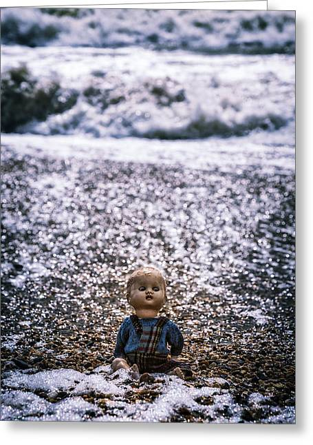 Drown Greeting Cards - Old Doll On The Beach Greeting Card by Joana Kruse