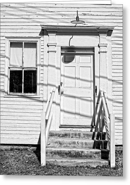 Old Maine Houses Greeting Cards - Old Door And Steps Black and White Photo Greeting Card by Keith Webber Jr