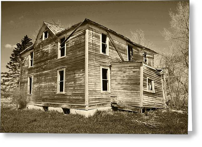 Old House Photographs Greeting Cards - Old Farm House In State Of Ruin Greeting Card by Donald  Erickson