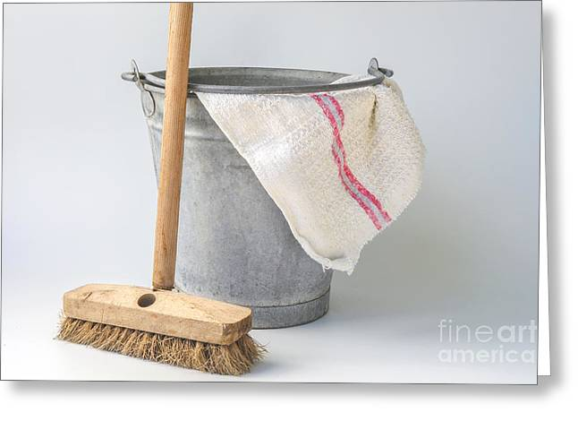 Housekeeping Greeting Cards - Old fashioned housekeeping with zinc bucket Greeting Card by Patricia Hofmeester