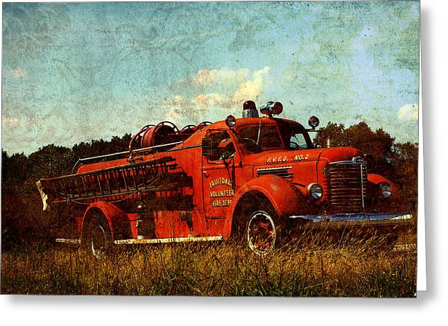 Fire Engines Greeting Cards - Old Fire Truck Greeting Card by Off The Beaten Path Photography - Andrew Alexander