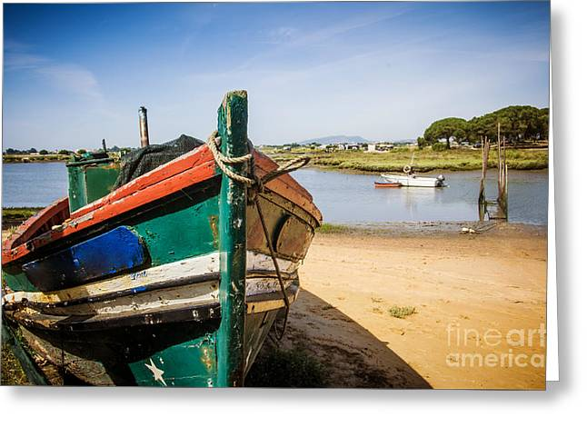 Destroyed Greeting Cards - Old Fishing Boat Greeting Card by Carlos Caetano
