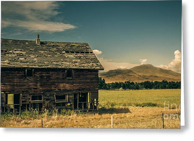 Haybale Greeting Cards - Old Homestead Greeting Card by Robert Bales
