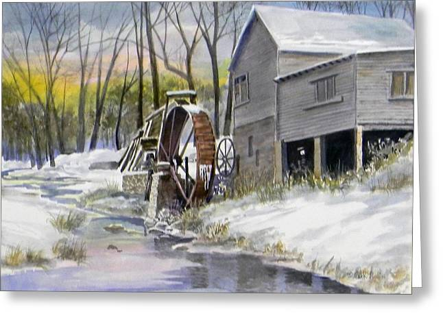 Grist Mill Paintings Greeting Cards - Old Mill in Winter Greeting Card by Jack Bolin