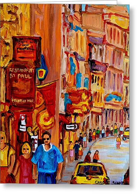Rue Prince Arthur Greeting Cards - Old Montreal Restaurants Greeting Card by Carole Spandau