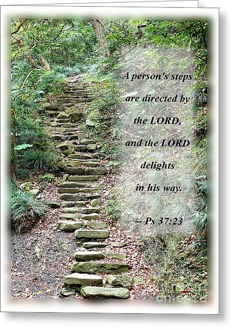 Stepping Stones Greeting Cards - Old Stone Path in a Dense Forest with Scripture Greeting Card by Yali Shi