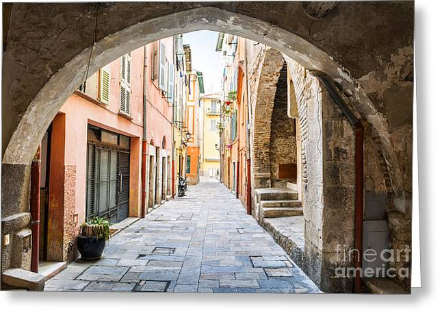 Vault Greeting Cards - Old street in Villefranche-sur-Mer Greeting Card by Elena Elisseeva