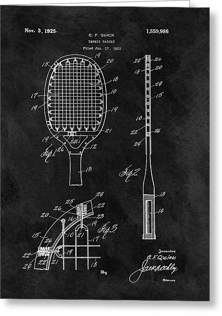 Old Tennis Racket Patent Greeting Card by Dan Sproul