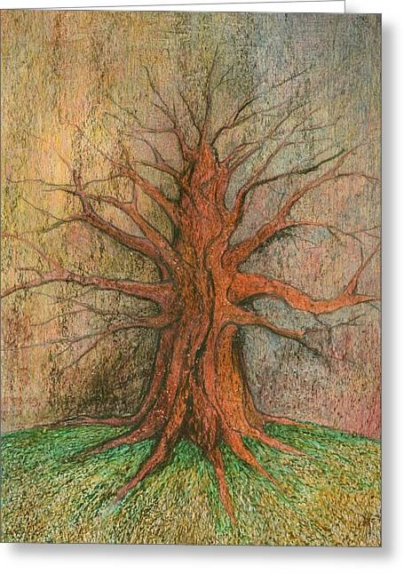 Colours Pastels Greeting Cards - Old Tree Greeting Card by Wojtek Kowalski
