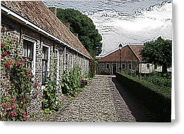 Stone House Mixed Media Greeting Cards - Old Village Greeting Card by Stefan Kuhn