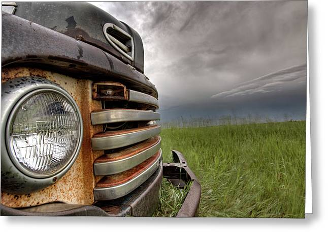 Old Vintage Truck On The Prairie Greeting Card by Mark Duffy