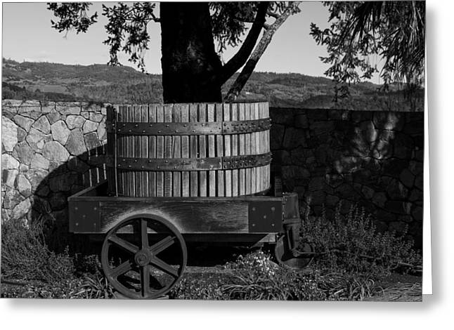 Napa Valley And Vineyards Greeting Cards - Old Wine Barrel And Wagon - Napa Valley Greeting Card by Mountain Dreams