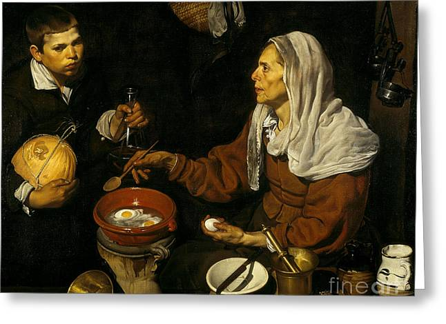Old Woman Frying Eggs  Greeting Card by Celestial Images