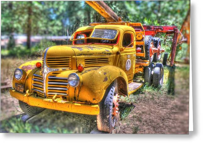 Transporation Greeting Cards - Old yellow Dodge  Greeting Card by Peter Schumacher