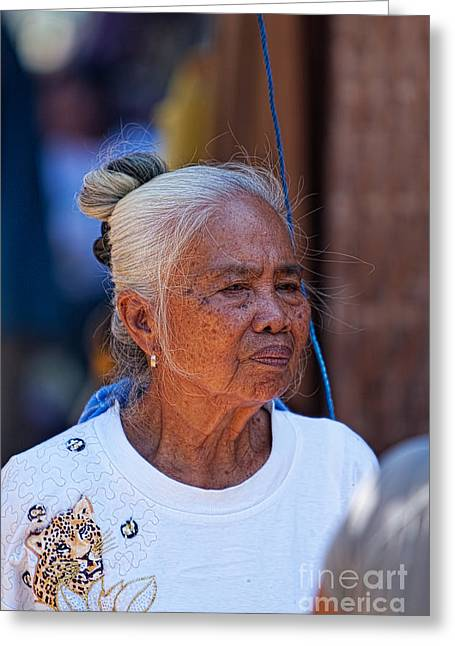 Asien Greeting Cards - Older Woman Greeting Card by Joerg Lingnau