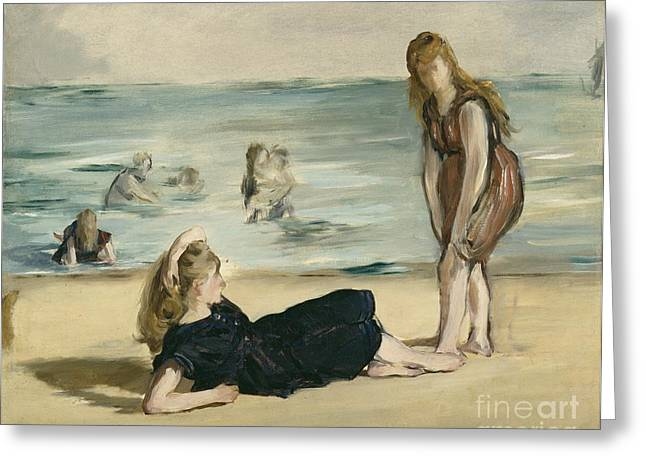 Swimsuits Swimming Costumes Greeting Cards - On the Beach Greeting Card by Edouard Manet