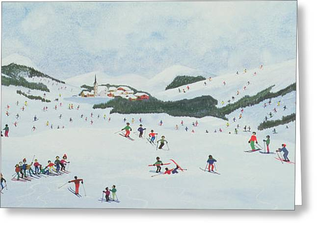 Skiing Christmas Cards Greeting Cards - On The Slopes Greeting Card by Judy Joel
