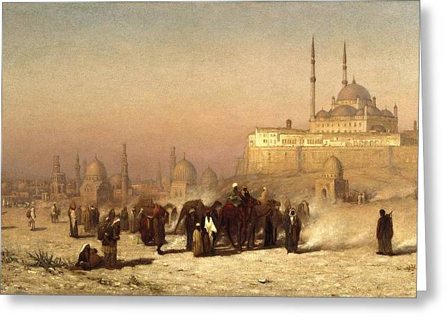 On The Way Between Old And New Cairo Greeting Card by Louis Comfort