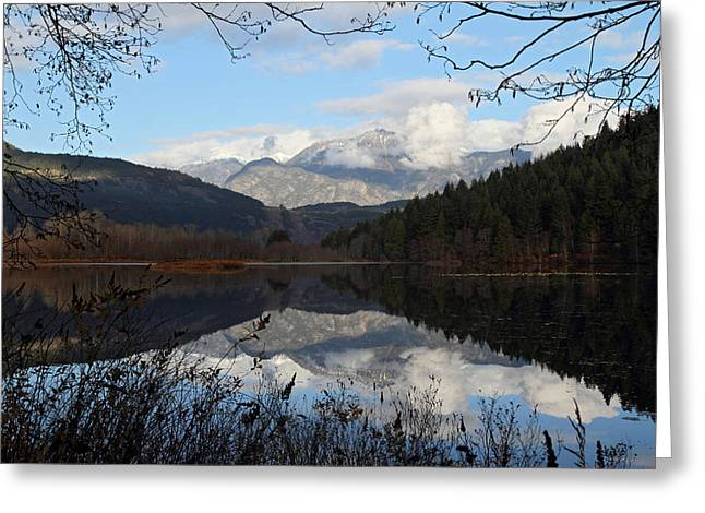 Mile One Greeting Cards - One mile lake reflection Pemberton B.C Canada Greeting Card by Pierre Leclerc Photography