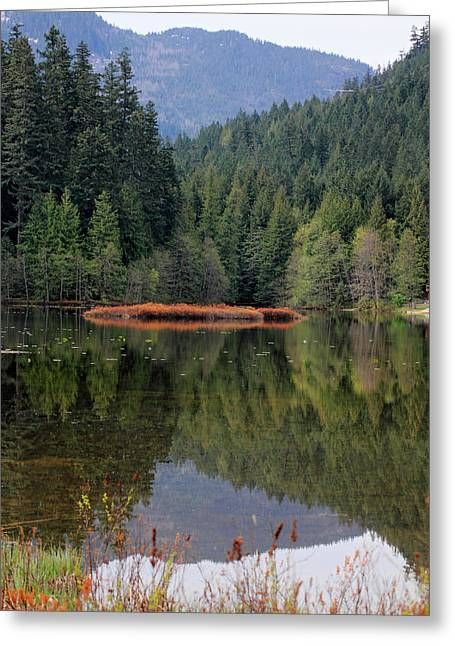 Peak One Greeting Cards - One Mile Lake reflection Pemberton Greeting Card by Pierre Leclerc Photography