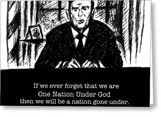 Conservative Greeting Cards - One Nation Under God Greeting Card by Mary Fanning