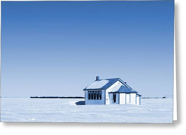 Old School House Greeting Cards - One Room Rural School Blue Toned Greeting Card by Donald  Erickson