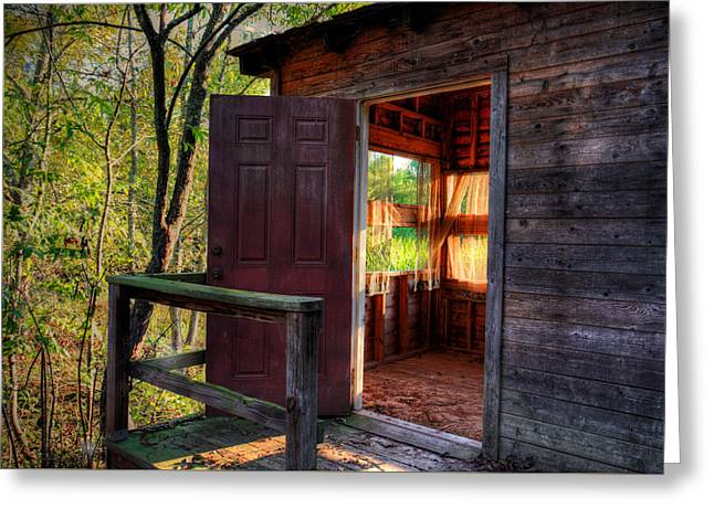 Old Caboose Greeting Cards - Open Door Greeting Card by Ester  Rogers