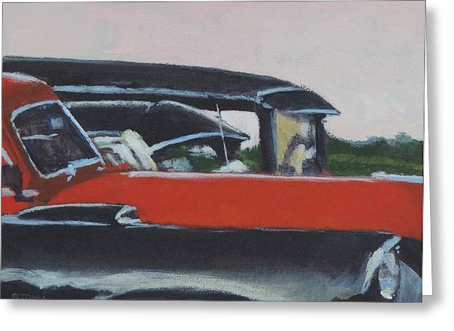 Old Grinders Paintings Greeting Cards - Orange and Black Greeting Card by Bill Tomsa