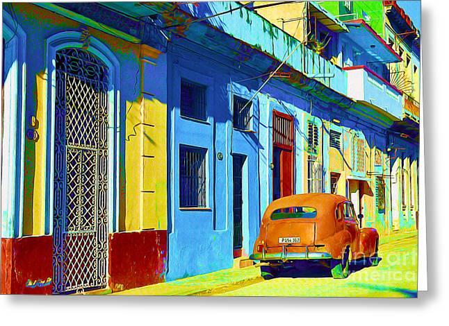 Orange Classic Car - Havana Cuba Greeting Card by Chris Andruskiewicz