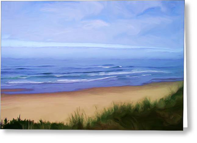 Sand Dunes Paintings Greeting Cards - Oregon Coast Greeting Card by Shelley Bain