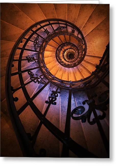 Black Top Greeting Cards - Ornamented spiral staircase Greeting Card by Jaroslaw Blaminsky