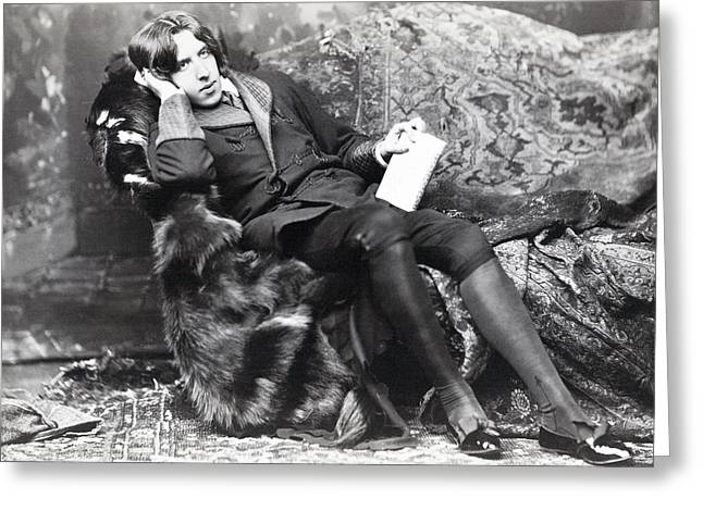 Oscar Wilde Drawings Greeting Cards - Oscar Fingal O Flahertie Wills Wilde Greeting Card by Ken Welsh