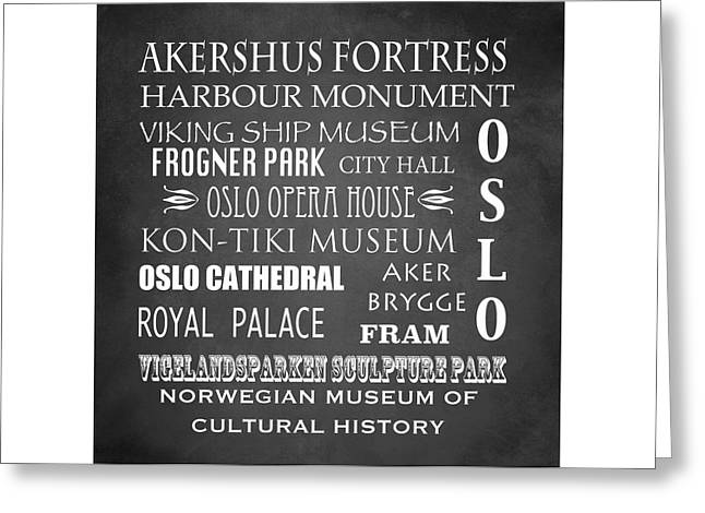 Oslo Famous Landmarks Greeting Card by Patricia Lintner