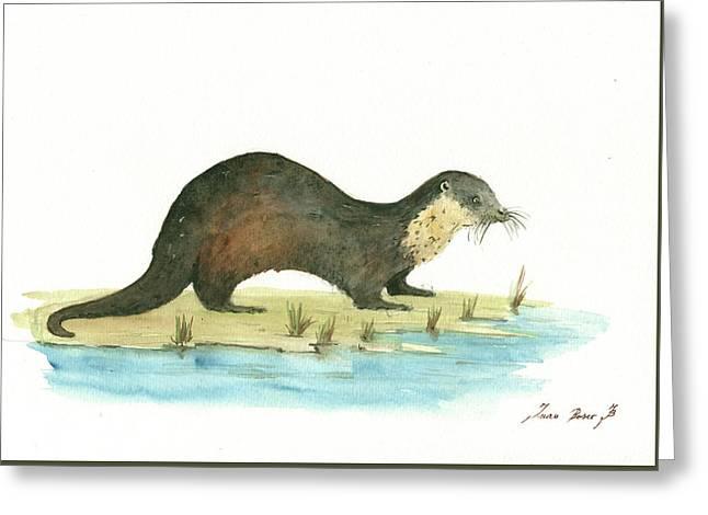 Otter Greeting Card by Juan Bosco