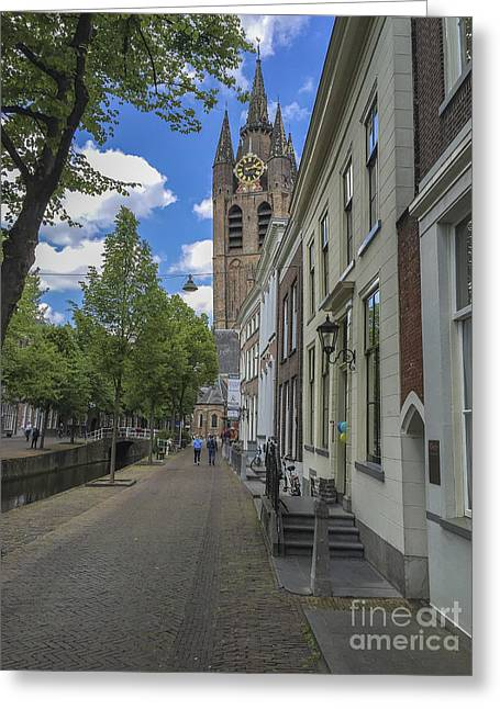 Renaissance Center Greeting Cards - Oude Kerk in Delft Greeting Card by Patricia Hofmeester