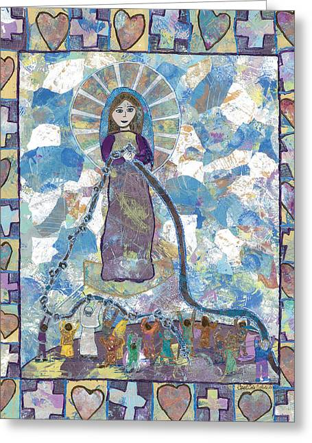 Our Lady Undoer Of Knots Greeting Card by Carol Cole