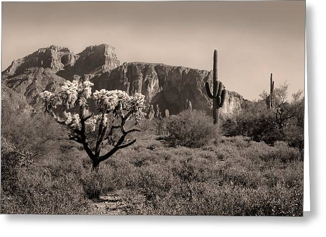 Carefree Cowboy Greeting Cards - Out Arizona Way Greeting Card by Gordon Beck