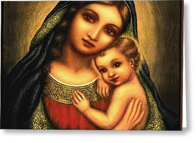 Madonna And Child Greeting Cards - Oval Madonna Greeting Card by Ananda Vdovic