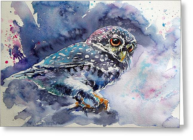 Owl At Night Greeting Card by Kovacs Anna Brigitta