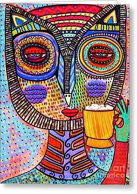 Flowers Of The Smoke Tree Greeting Cards - Owl Goddess Drinking Hot Chocolate Greeting Card by Sandra Silberzweig
