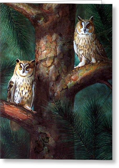 Nocturnal Paintings Greeting Cards - Owls In Moonlight Greeting Card by Frank Wilson