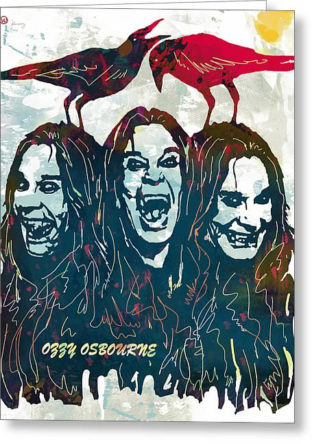 Ozzy Osbourne Pop Stylised Art Poster Greeting Card by Kim Wang